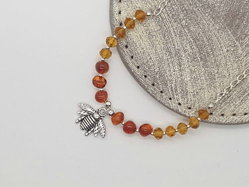 Amber and Bees Necklace
