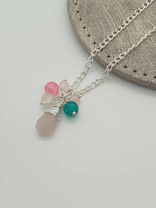 Rose Quartz Teardrop and Beads Necklace
