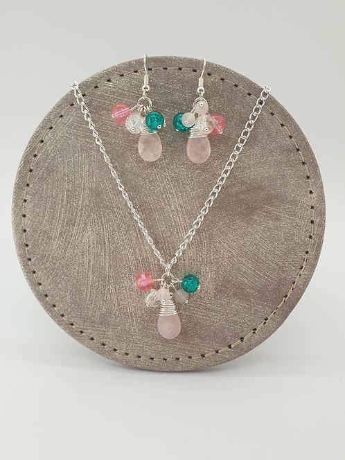 Rose Quartz Teardrop and Beads Set