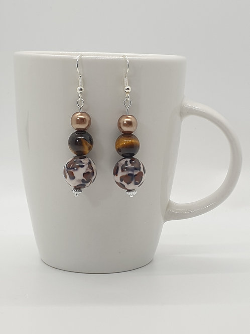 Animal Print Bead Earrings
