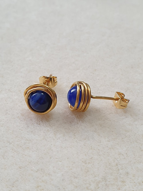 Wire Wrapped, Gold Plated, Crystal Stud Earrings