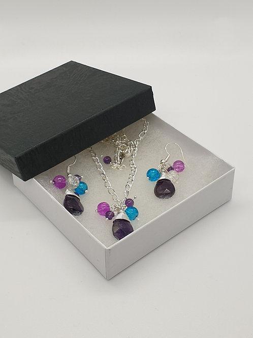 Amethyst Teardrop and Beads Set