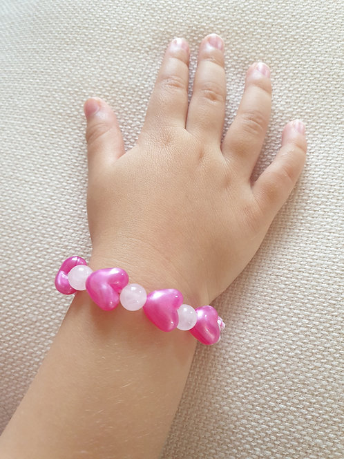 Children's Rose Quartz Heart Bracelet