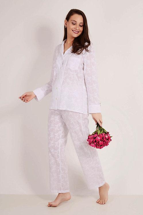 Pijama Bordado Branco