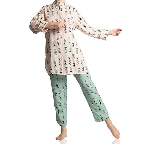 Pijama Chines Candy Rosa e Verde
