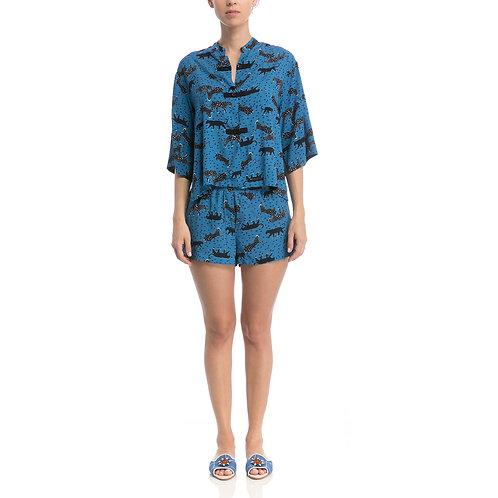 Conj. Shorts Oriental Safari Cobalto