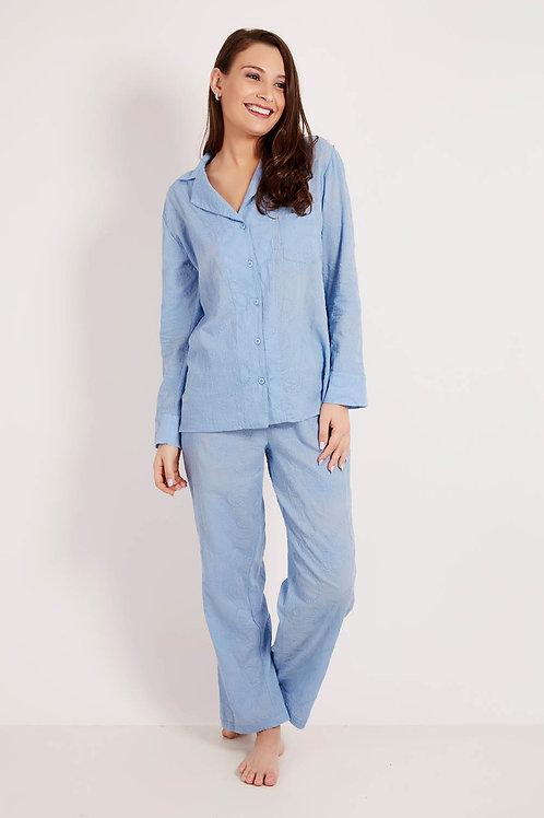 Pijama Bordado Azul
