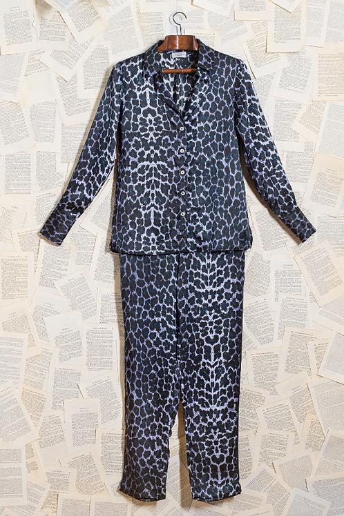 Pijama Seda Pura Onça Azul