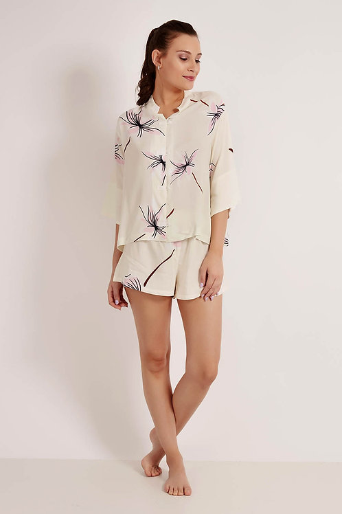 Conj. Shorts Oriental Hibisco