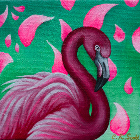 Flamingo in Blossoms
