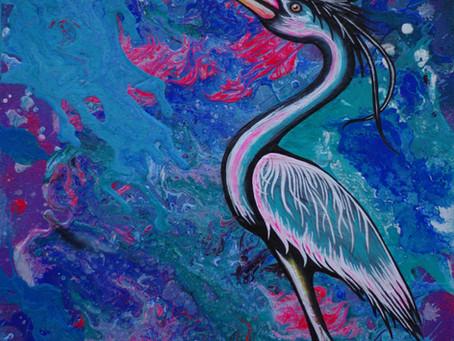 Kaleidoscopic Heron