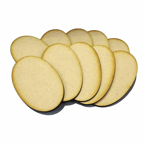 10 x [90mm x 52mm] Oval MDF Bases