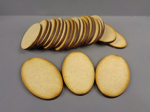 25 x [60mm x 35mm] Oval MDF Bases