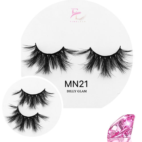 Dilly Glam 3D mink strip lashes MN21