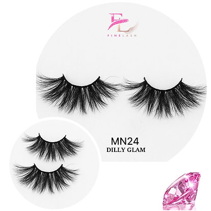 Dilly Glam 3D mink strip lashes MN24