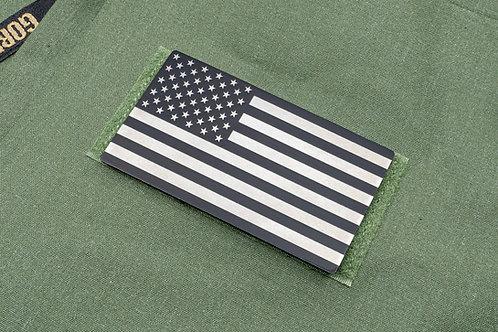 Raw Titanium and Black USA Flag Patch