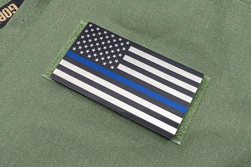 Law Enforcement Thin Blue Line Titanium Flag Patch