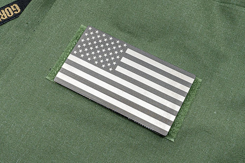 Subdued Raw Titanium and Gray USA Flag Patch