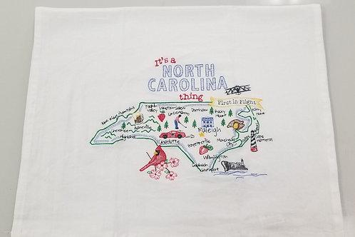 Embroidered North Carolina Tea Towel
