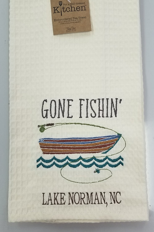 Gone Fishing Lake Norman Kitchen Towel