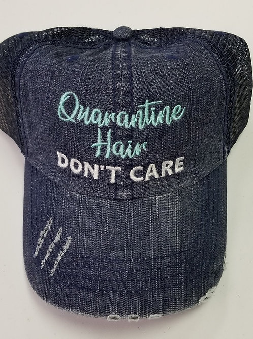 """Quarantine Hair Don't Care"" Distressed Trucker Cap"