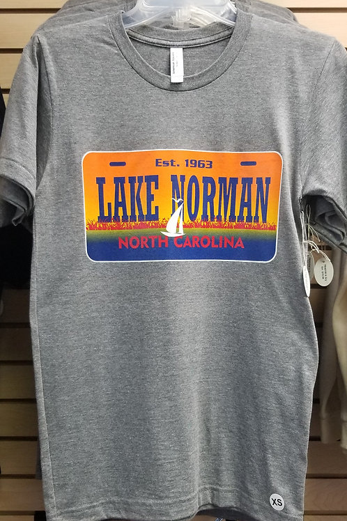 Lake Norman Sunset License Plate Tee