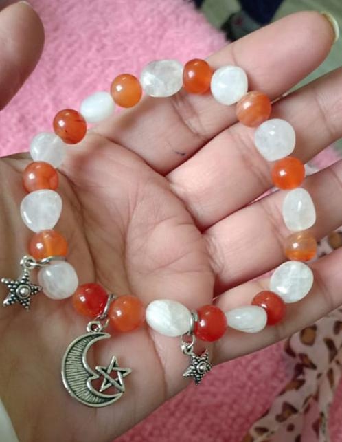 Moonstone - Carnelian bracelet
