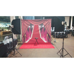 Red carpet with curtains setup