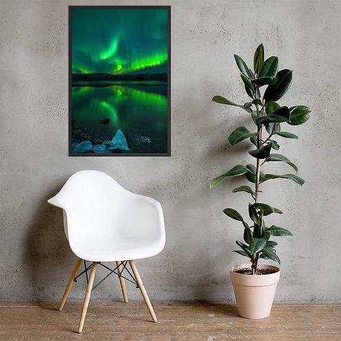 Northern Lights, Ice Lagoon | Framed