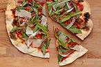 Eine Scheibe der Pizza