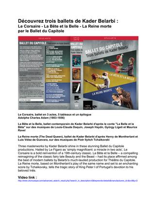 OPUS ARTE - Trois ballets de Kader Belarbi