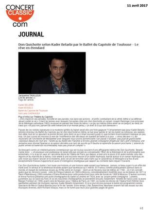 La presse parle du nouveau Don Quichotte de Kader Belarbi