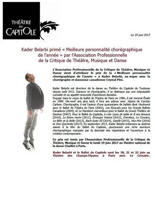 """Kader Belarbi primé """"Meilleure personnalité chorégraphique de l'année"""" par l'Assoc"""