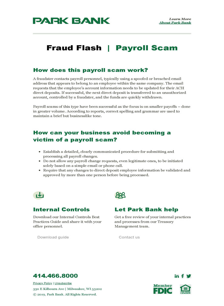 Fraud Flash - Business email sample