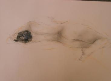 Desnudo femenino de espalda reclinante.j
