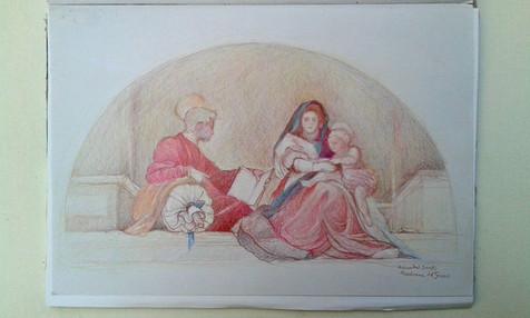 """Color analytic drawing of Andrea del Sarto's """"Madonna del Sacco"""""""