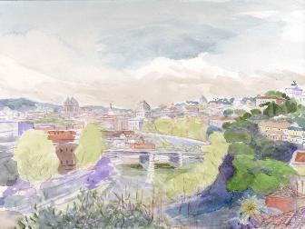 Tiber and Rome from Santa Sabina acquare