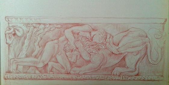 Hercules wrestling the Lion