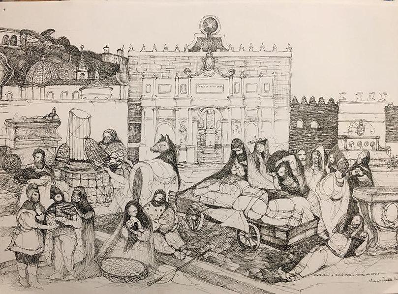Los peregrinos a punto de entrar a Roma.