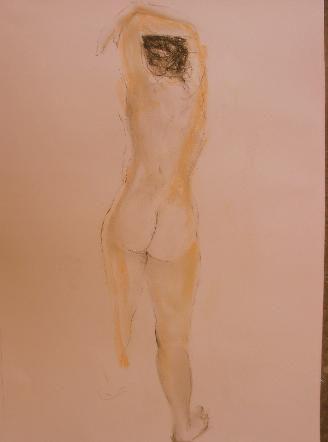 Desnudo femenino con brazos sobre la cab