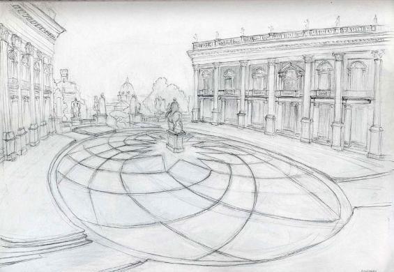 Piazza Campidoglio pavement and equestri