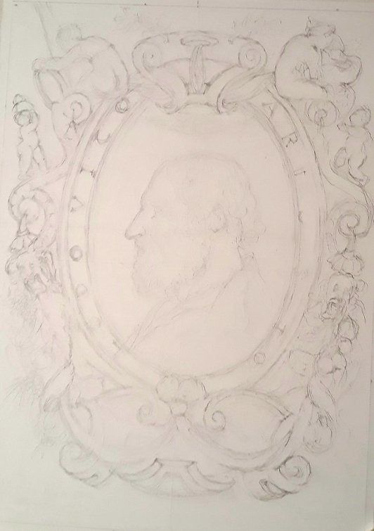ARIOSTO Medallion portrait pencil guidli