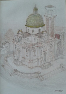 """8"""" x 11""""  pencil  2016 I took delight in drawing this very compact but baroque temple on the outskirts of Vicenza, in the region of the Veneto, after admiring its setting and exterior, walking around the church, and finally  visiting its interior places of pilgrimage. From where I positioned myself on the hilly slopes of a park across from the church, I certainly could not experience the site from the air: I had to use my memory and recollection of the sides that I had seen and inspected as I walked around the building, as well as my own sense of how the overall floor plan or footprint of the edifice in its space worked with the elevations of each of the four sides of its cross structure, in order to arrive at this composite drawing of the Lady of Mercy."""