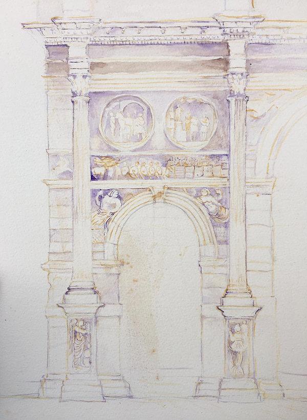 Arco Constantino acuarela lado nordeste