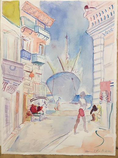 Habana Calle del Puerto con muchacha y b