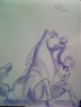 Cavallo della fontana del Nettuno bianca