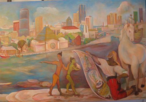 Miami River mural detail Ponce de Leon a