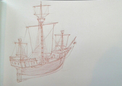Study of 16th century Danish galleon