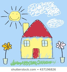 Kids Crayon Drawing of a House with sun