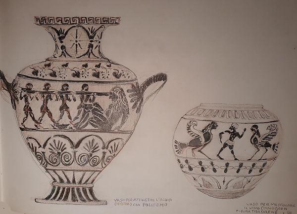 Black Figure POLYPHEMOS and Male figure